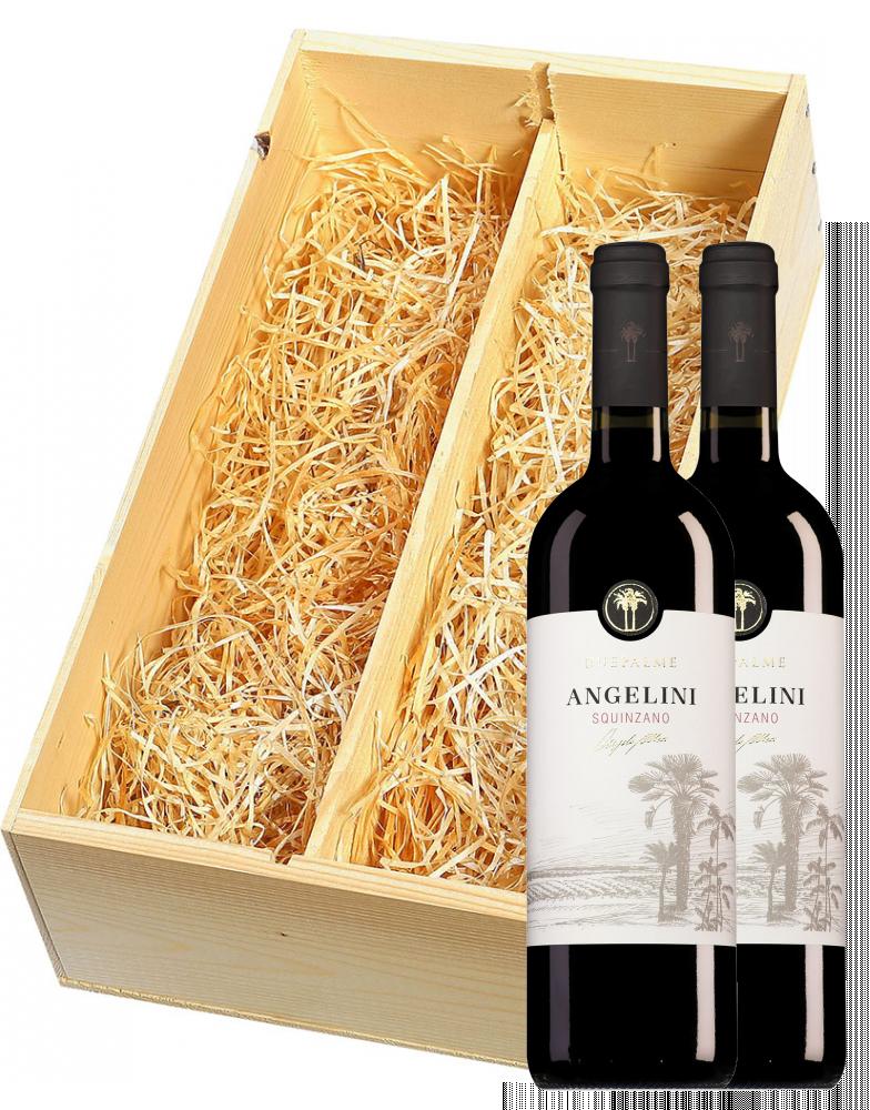Wijnkist met 2 Cantine Due Palme Squinzano