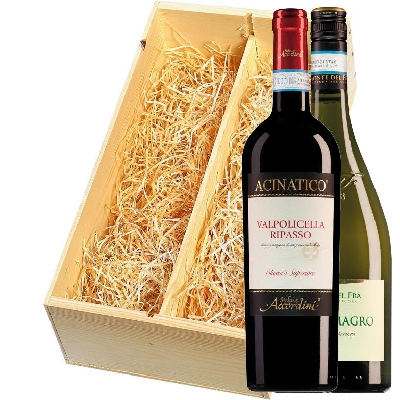 Wijnkist met Monte del Frà Cà del Magro en Stefano Accordini Valpolicella Ripasso