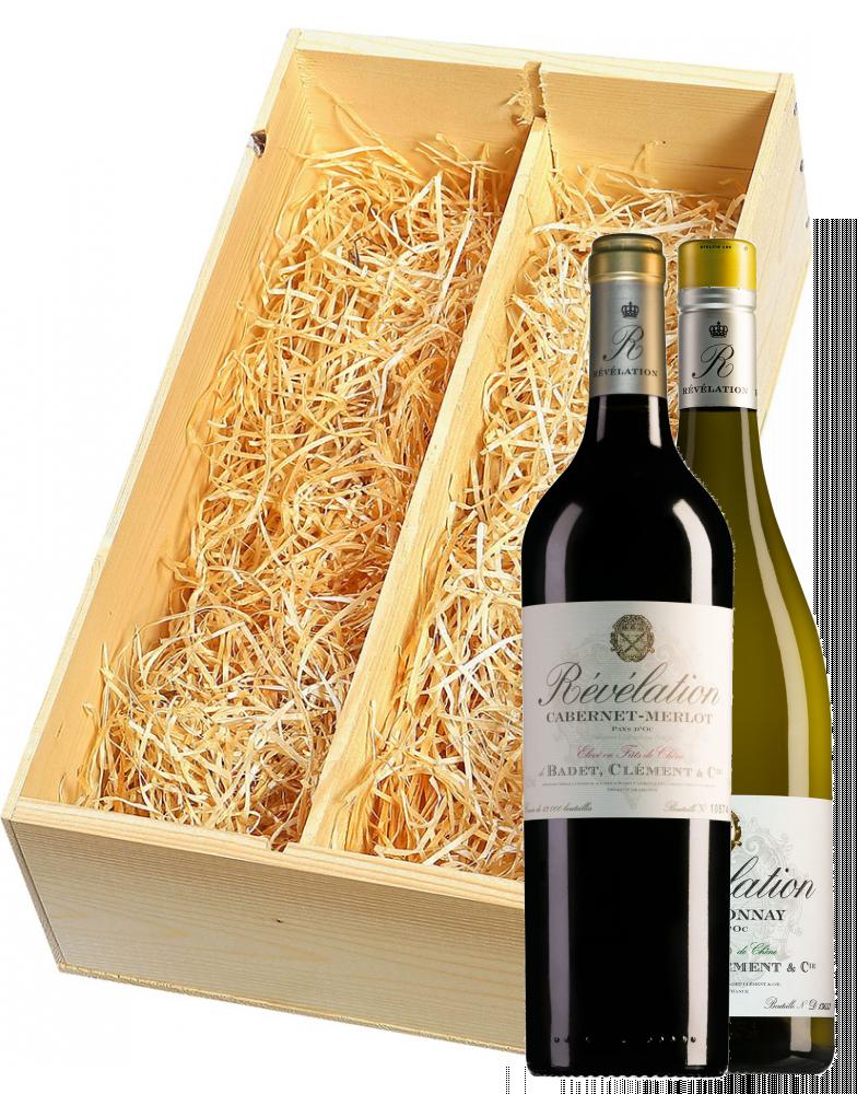 Wijnkist met Revelation Pays d'Oc Cabernet-Merlot en Chardonnay