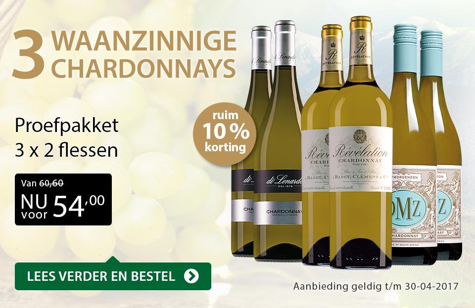 Proefpakket drie waanzinnige Chardonnays - goud/zwart