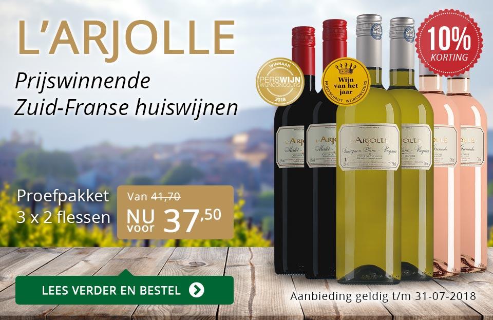 L'Arjolle prijswinnende huiswijnen juli 2018 - goud/zwart