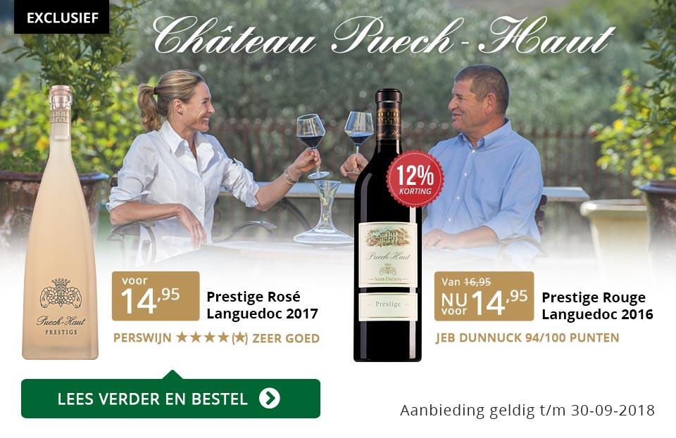 Château Puech-Haut wijnen in Perswijn - goud/zwart
