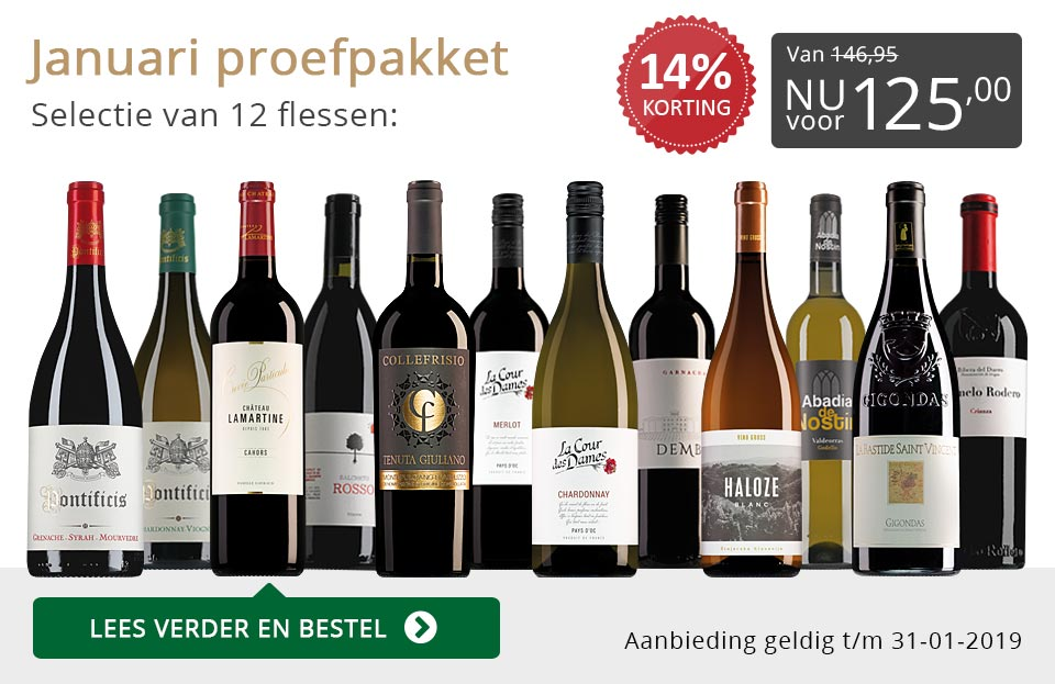 Proefpakket wijnbericht januari 2019 (125,00) - grijs/goud