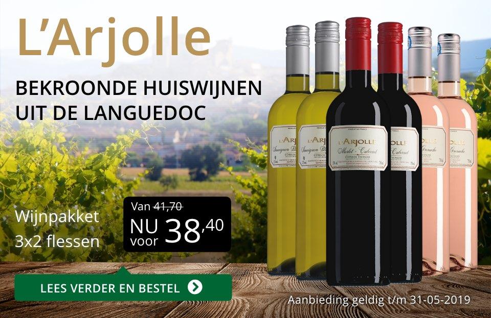 Wijnpakket L'Arjolle mei 2019 (38,40) - goud/zwart