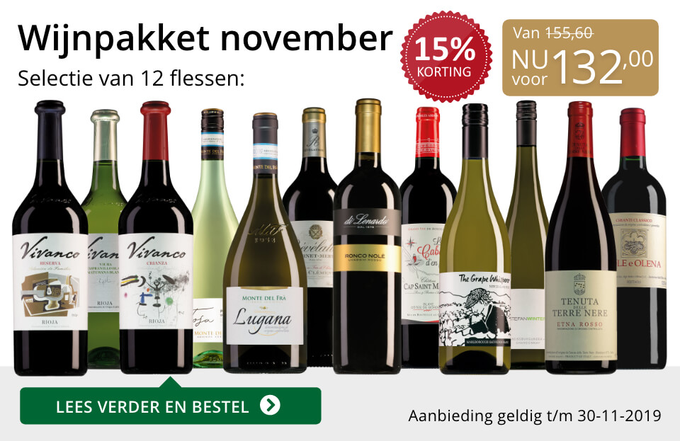 Wijnpakket wijnbericht november 2019 (132,00) - goud/zwart
