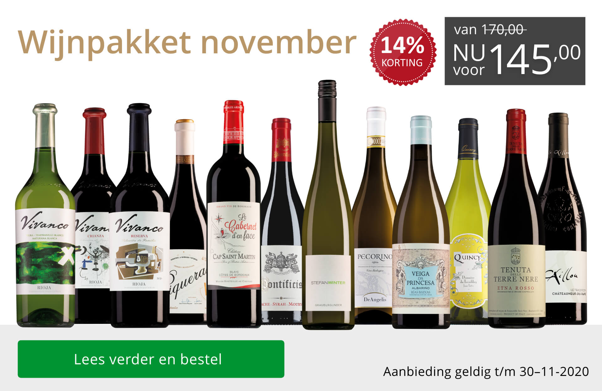 Wijnpakket wijnbericht november 2020(145,00)-grijs/goud