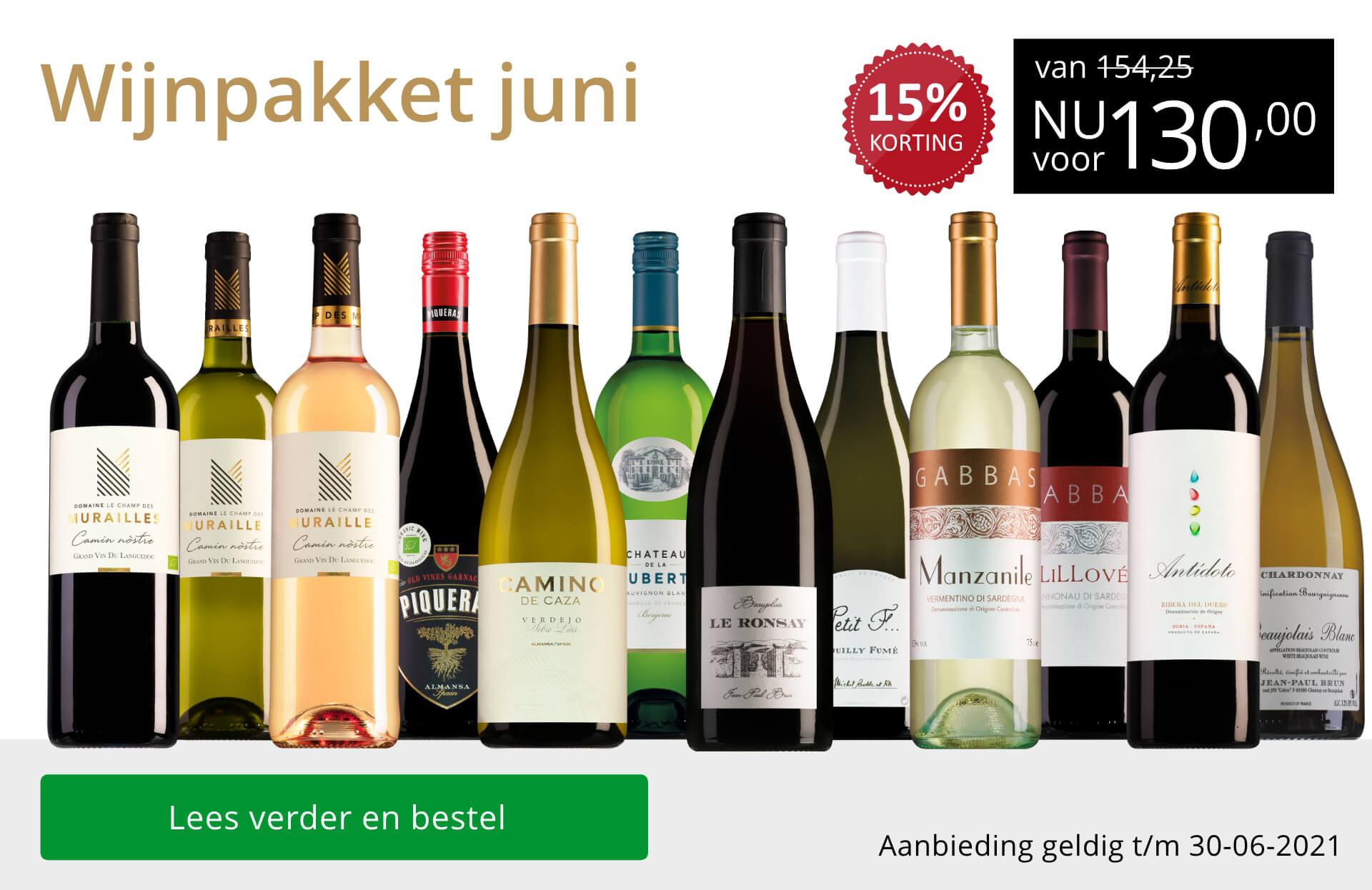 Wijnpakket wijnbericht juni 2021(130,00) - goud/zwart