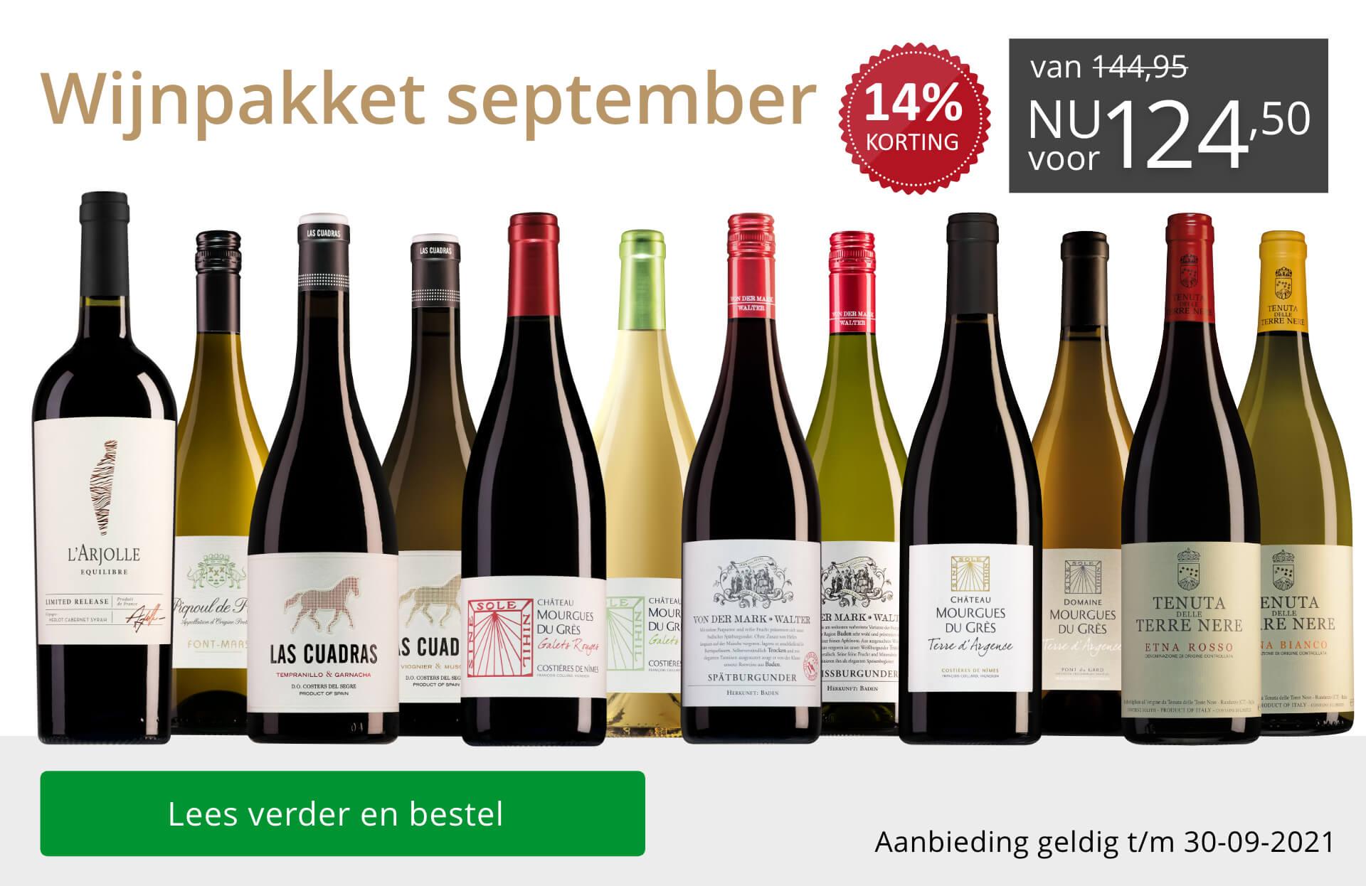 Wijnpakket wijnbericht september 2021 - grijs/goud